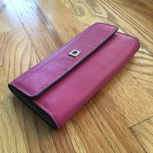 Pink Leather Snap Wallet